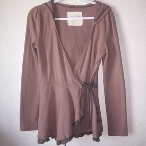 Anthropologie Pure+Good hooded wrap cardigan